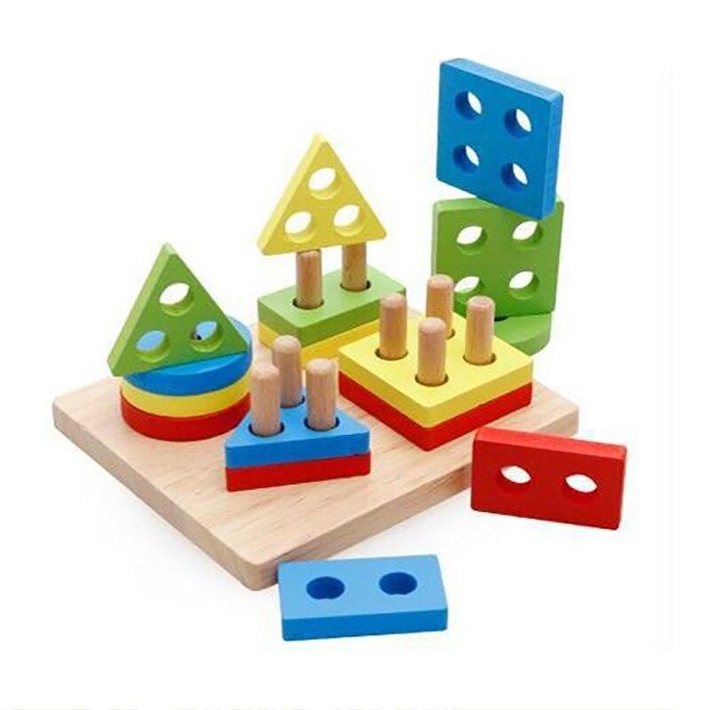Lewo Wooden Puzzle Toddler Toys Shapes Sorter Preschool Geometric Blocks Stacking Games for Kids Geometric Shape