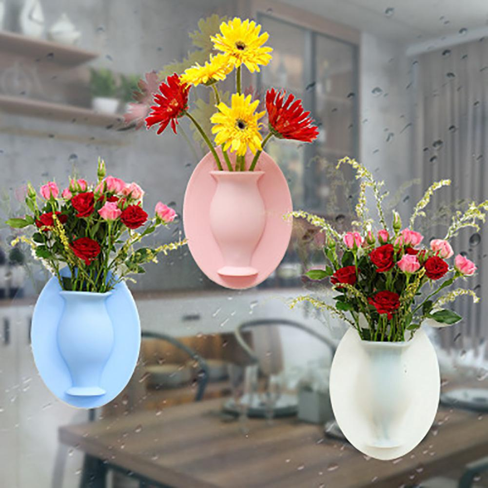 Silicone Vase Magic Rubber Silicone Sticky Flower Wall Hanging Vase Container Floret Bottle Plant Pot Container Reusable Hang