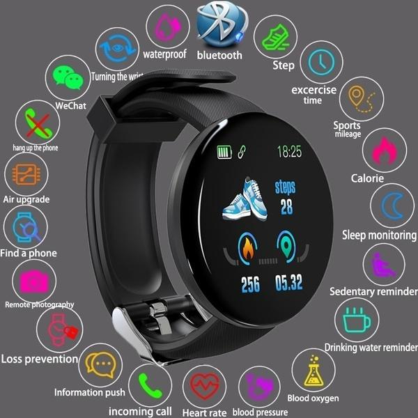D18_Fitness Tracker Smart Watch Band IP65 Waterproof Bluetooth Sport Intelligent Wrist For Call Reminder Motion Detection Device For Xiaomi,Apple,,OPPO,Samsung,Huawei,Redmi
