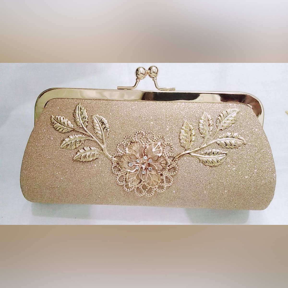 Stylish Bridal clutch with front flower design