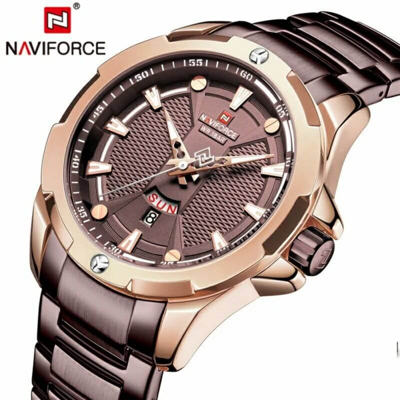 Naviforce Day & Date Stainless Steel Waterproof Wrist Watch With Brand Box - NF-9161