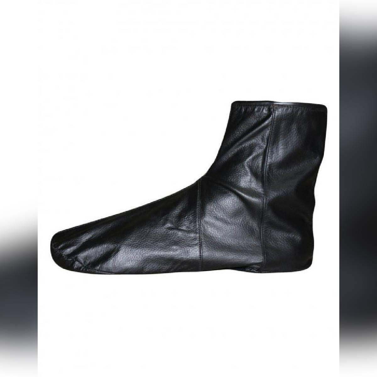Black Leather Socks With Zipper