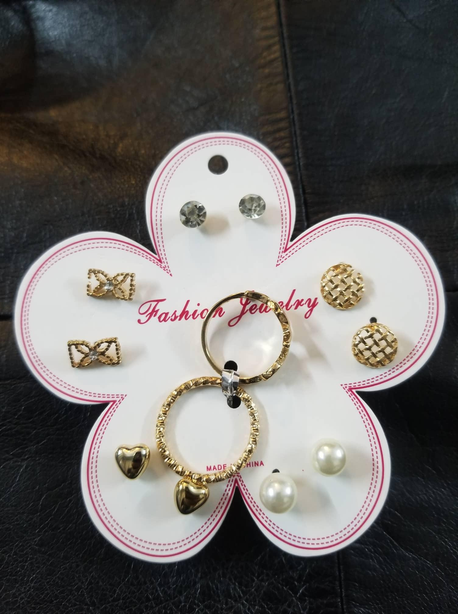 993fc18d5 Girls Multiple Earring And Ring Jewellery Set Trendy Fashion Women Earrings  - Pack of 7