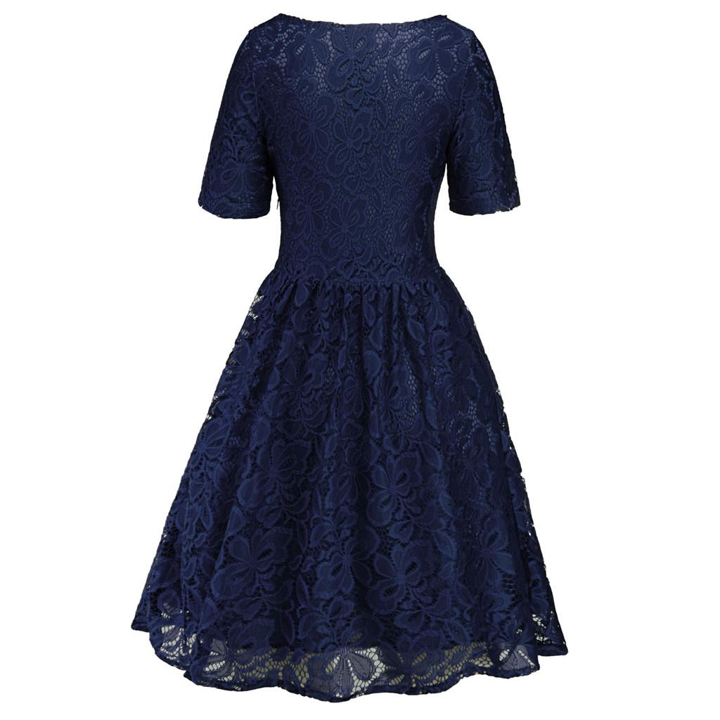 BlingBlingStar Women s Vintage Lace Formal Wedding Cocktail Evening Party  Ladies Swing Dress fe381e50fb48