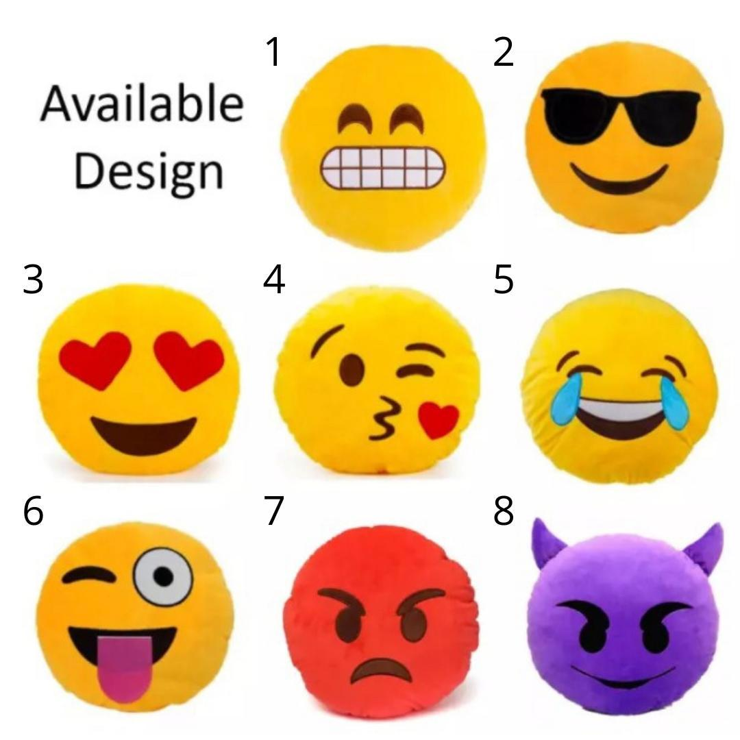 Relaxsit (Pack of 5) Assorted Emoji Soft Pillows Stuffed Cushions Round Home Decor Pillows 35cm