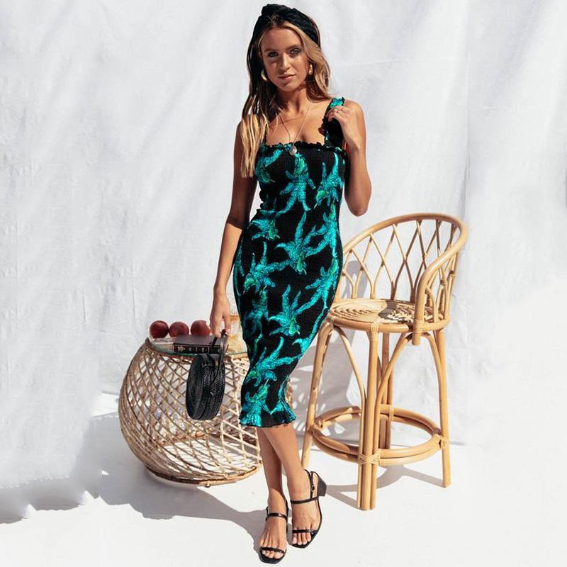 f906745298 Product details of New Women Bohemian Slip Dress Leaves Print Shirred  Sleeveless Slim Beach Holiday Dress Sundress Pink Black Green