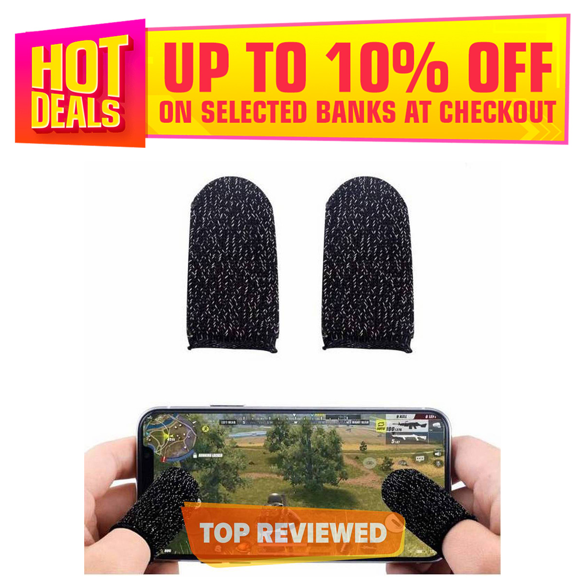 Fire Buttons / Anti-Sweat Breathable Thumb Gloves Sleeve for iphone & android Pubg & fortnite mobile trigger Triger Trigar Trager