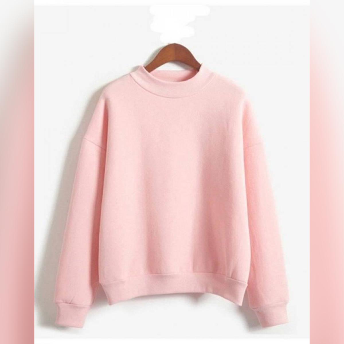 Sweatshirt 2018 Winter Casual Loose Fleece Pullover Baby Pink