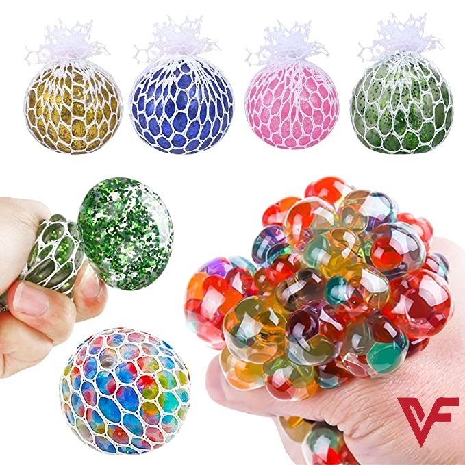 Magic Color Changeable Grape Mesh Squish Ball Stress Release Toy Squeezing Rubber Vent Grape Ball Hand Wrist Toy Multicolor