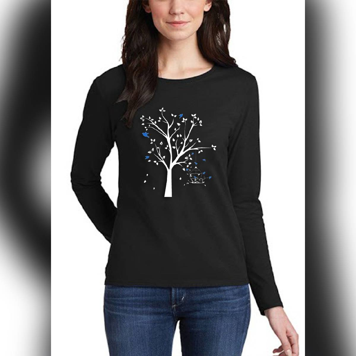 Black TREE Print Round Neck Full Sleeves Printed Casual T Shirts for Girls Women & Ladies