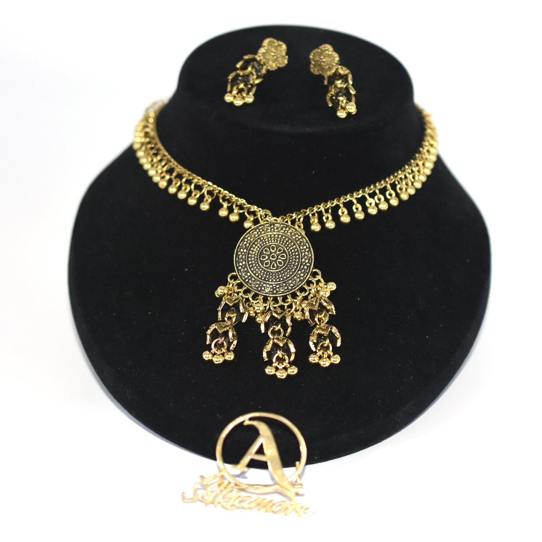 Antique Top Resin Women Necklace Earrings Set Jewelry Carved Flower Jewellery Sets Bijoux C