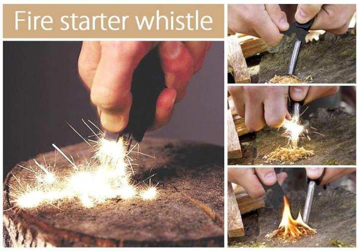 Fire Starter Flint Striker + Ruler + Whistle
