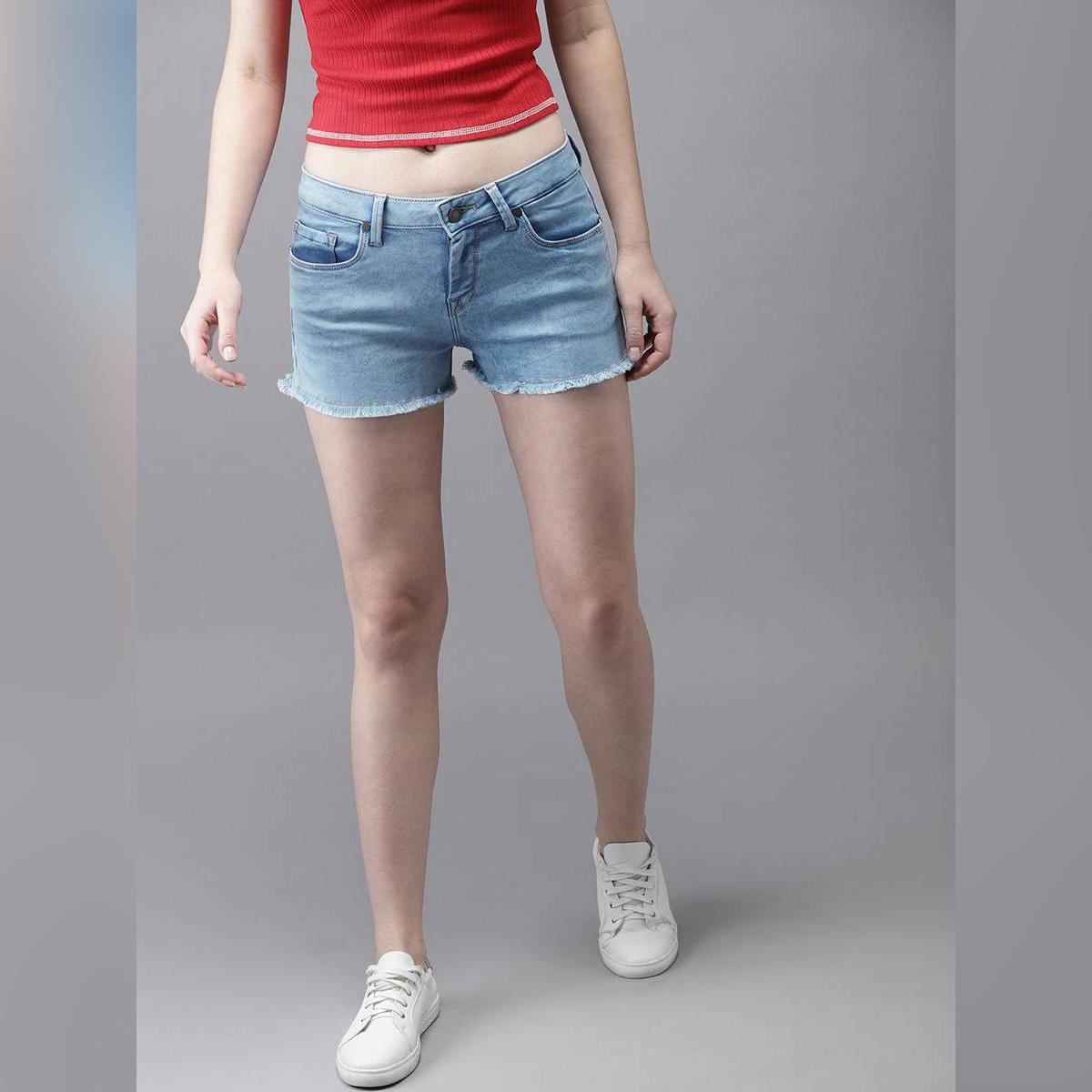 Ice Blue Denim Shorts For Women. SIS-44