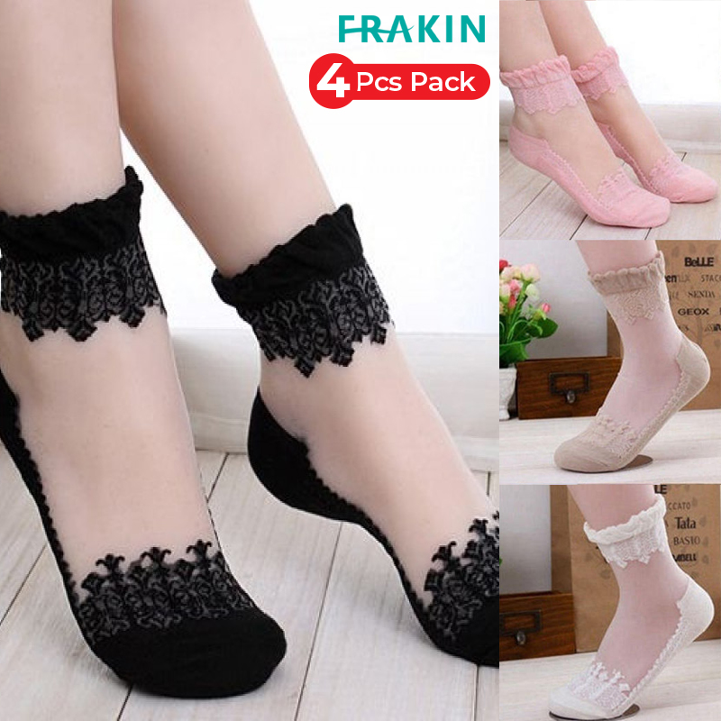 Frakin Pack Of 4 Summer Ladies Socks Floral Spot Glass Ultrathin Transparent Silk Socks