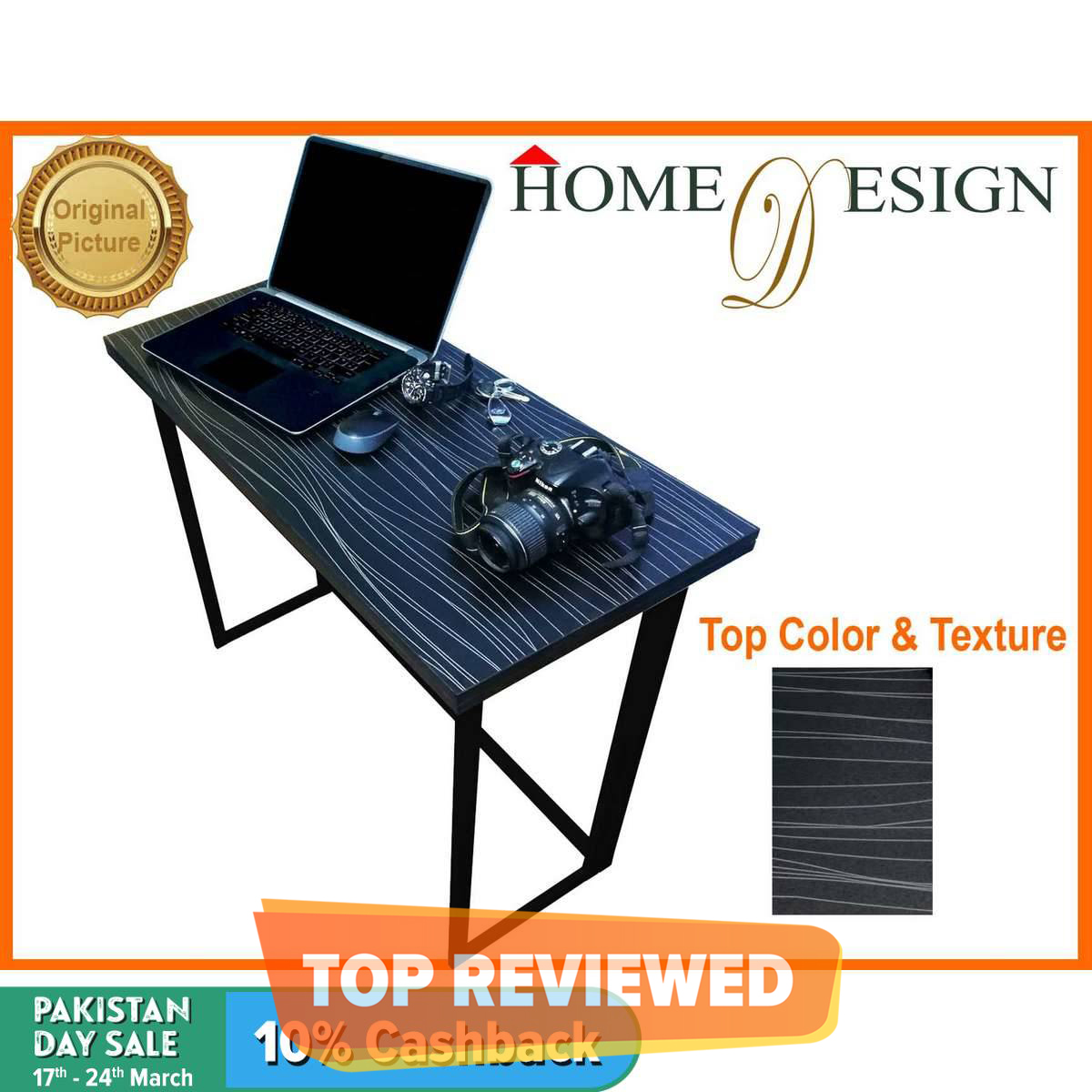 Smart Portable Folding Study Table Office Workstation Multipurpose Table 36x16 Inches Metal Frame MDF Top
