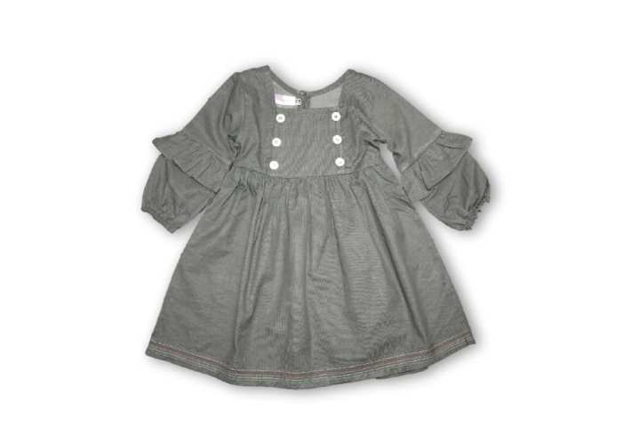 Frock with Bottle Sleeves and Ruffles