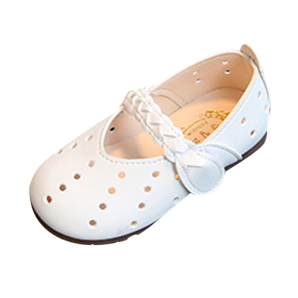 e67c1fa9308aa Perfect Meet Princess shoes Children Infant Kid Girls Solid Leather Hollow  Hole Princess Single Casual Shoes