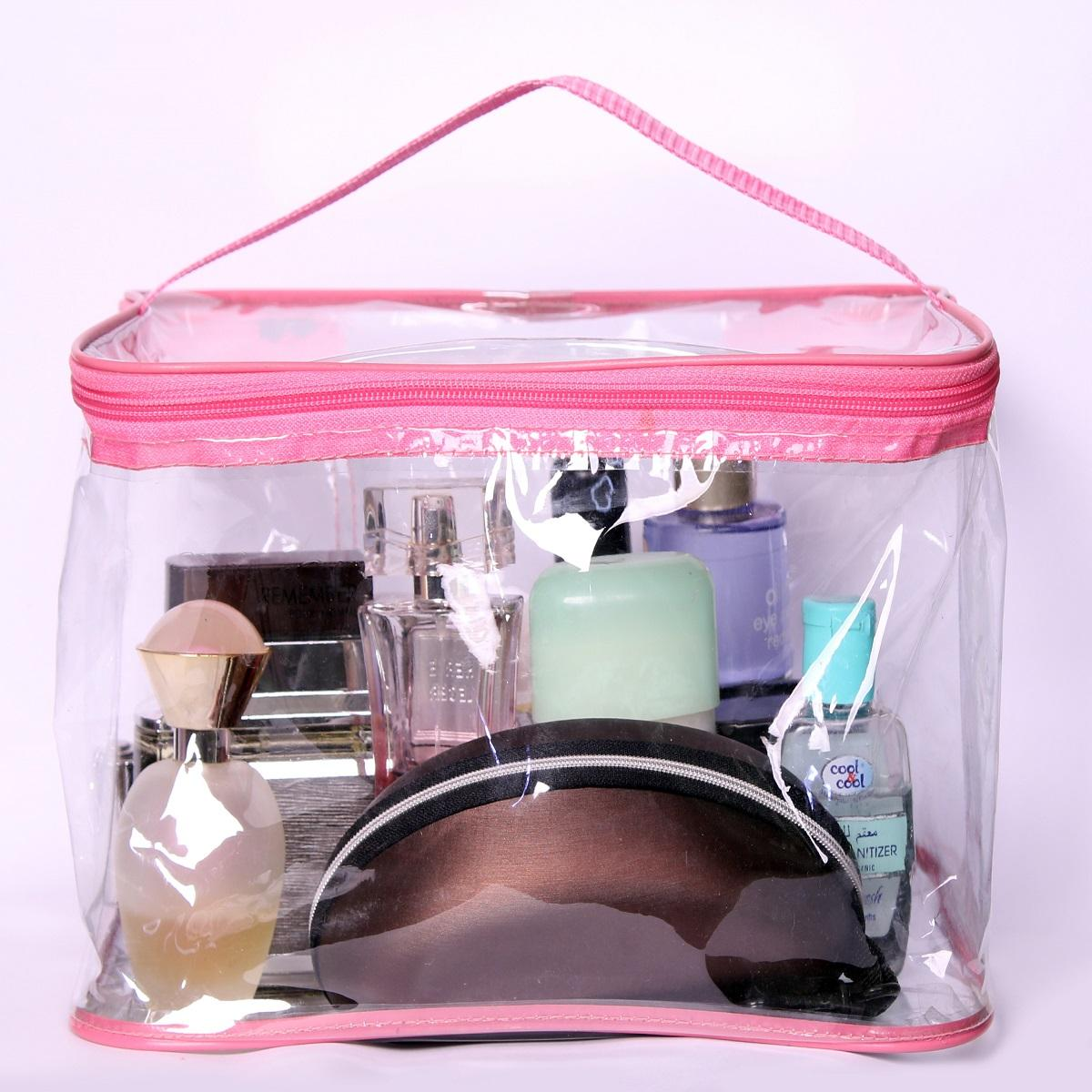 Cosmetic Bag Large Clear Zipper Cosmetic Plastic Makeup Bag Storage Case Travel Portable - Pink