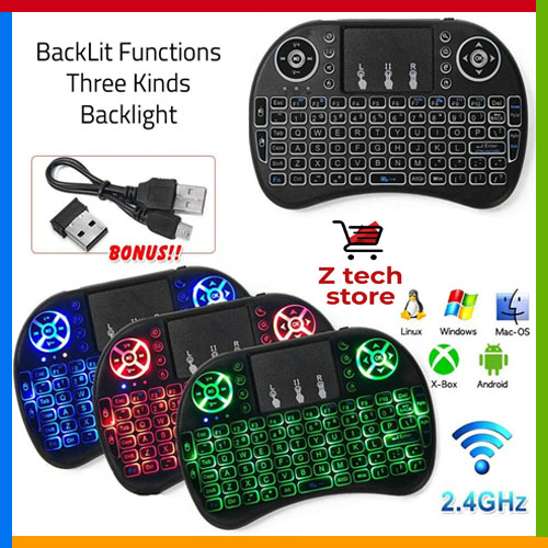 Mini Wireless Keyboard RF500 Multi Color Backlit with Touch Pad, C120 G10s Air Mouse Remote Control 6 Axis Gyroscope IR Learning USB Backlit for Android TV Box Mac Linux Raspberry Pi Windows 7 8 10