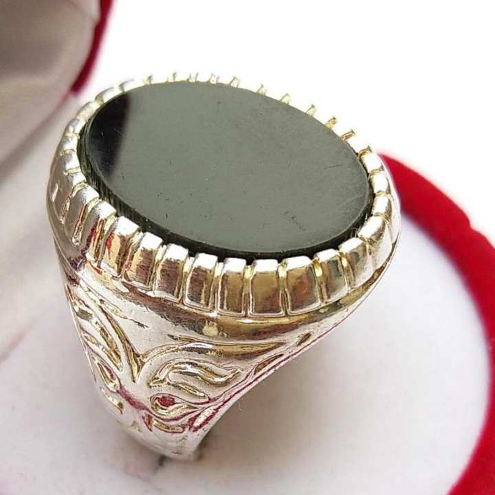 Silver Ring With Flat Black Stone For Men