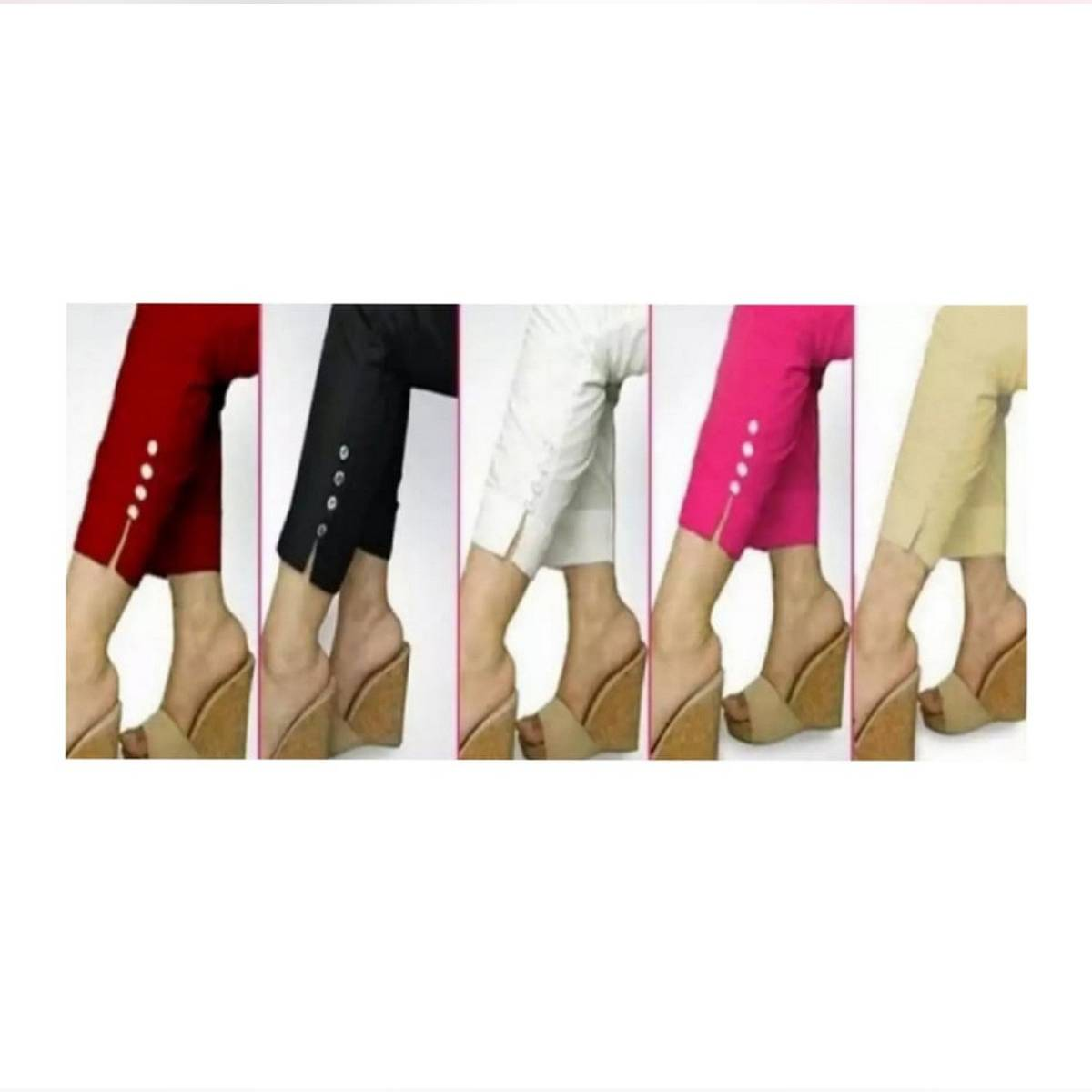 Pack of 5 Multicolor Cotton trousers for Girls/Ladies