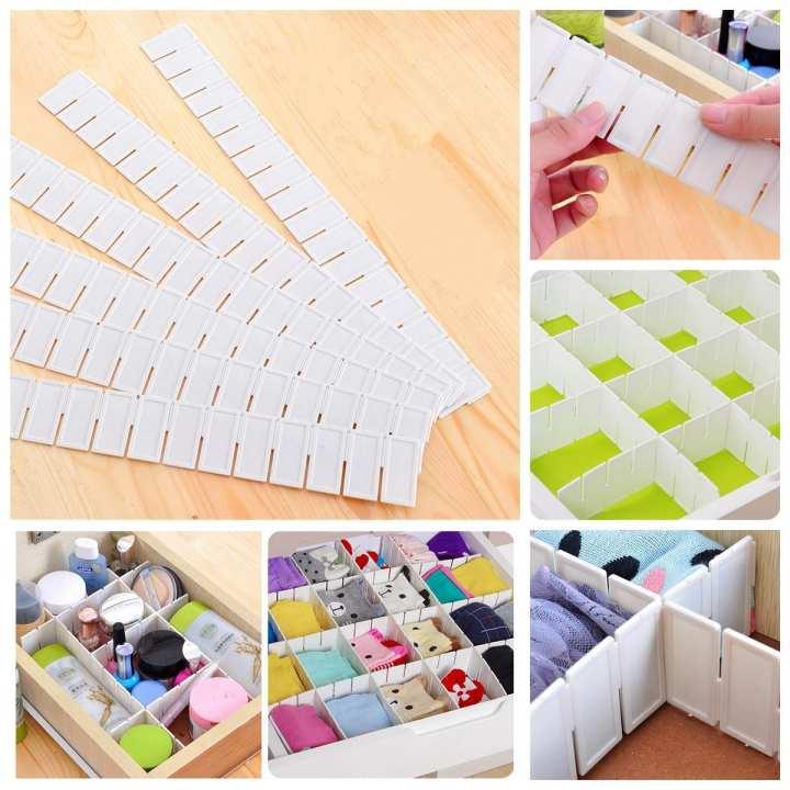 6x Adjustable Drawer Clapboard Partition Divider Cabinet DIY Storage Organizer