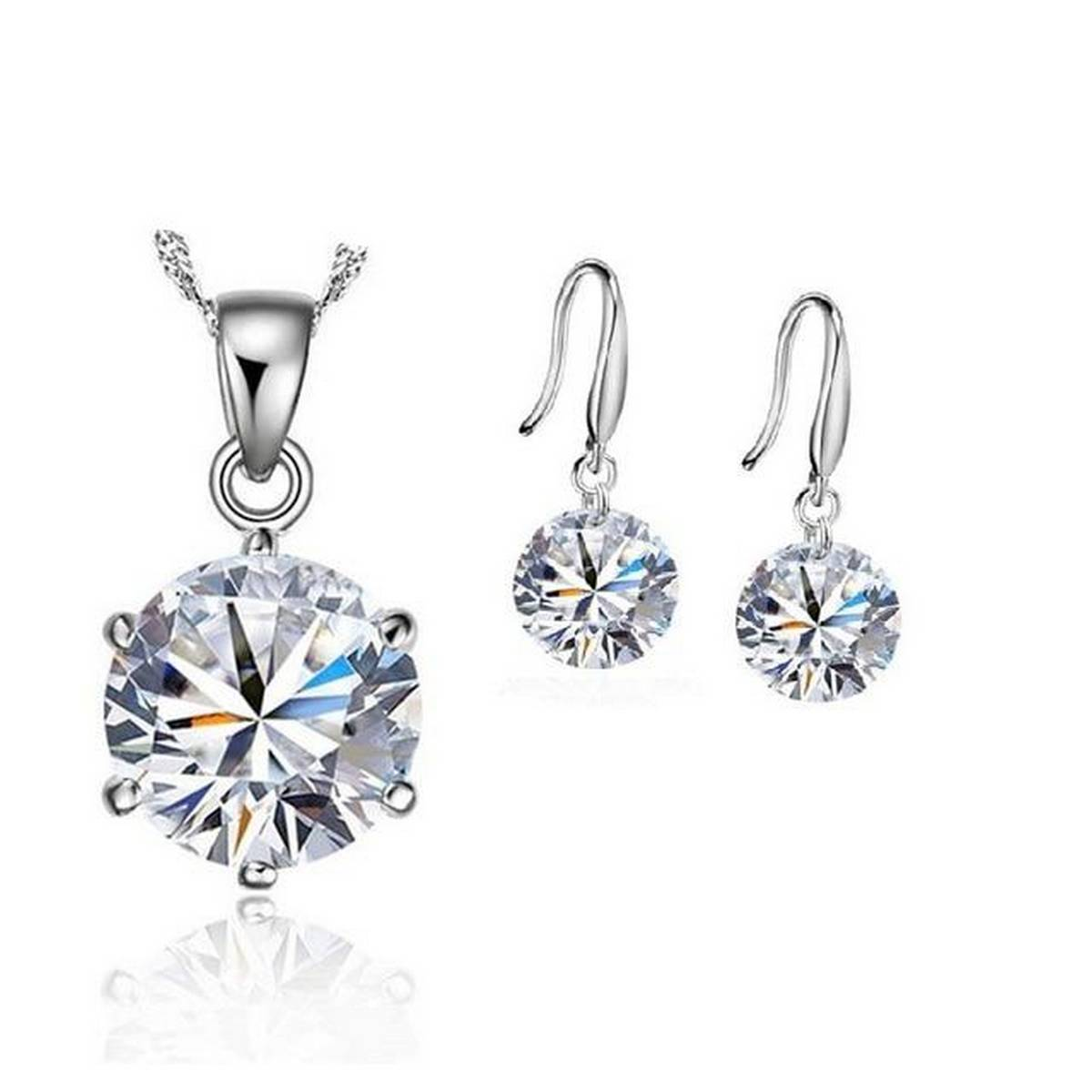 925 Sterling Silver Crystal Colorful Beautiful Luxury Romantic Style Necklace Earrings Set