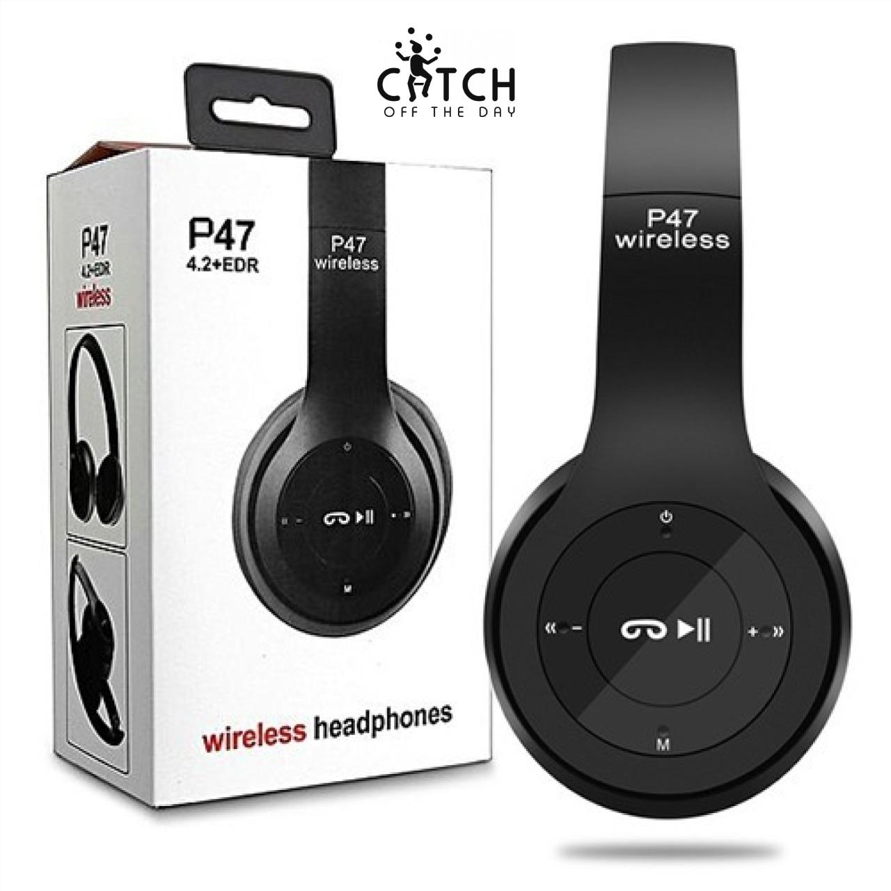 Wireless Headphones P47 Bluetooth Foldable Headset Wireless Headphones with Mic Stereo Headset Supports FM Radio / TF Card / AUX Cable