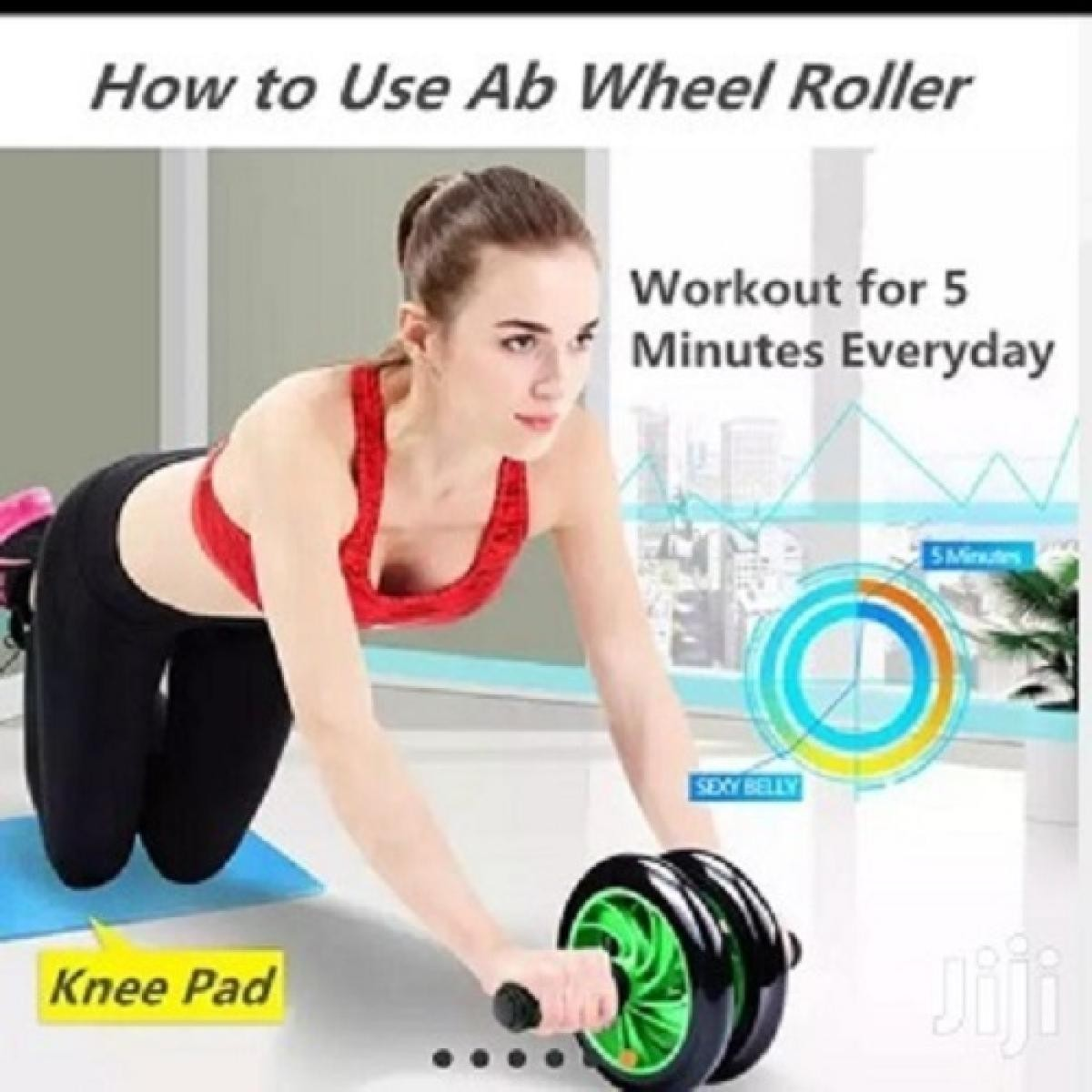 Dual Ab Wheel Roller Abdominal Exercise Abs with Free Knee Mat Pad Training Workout