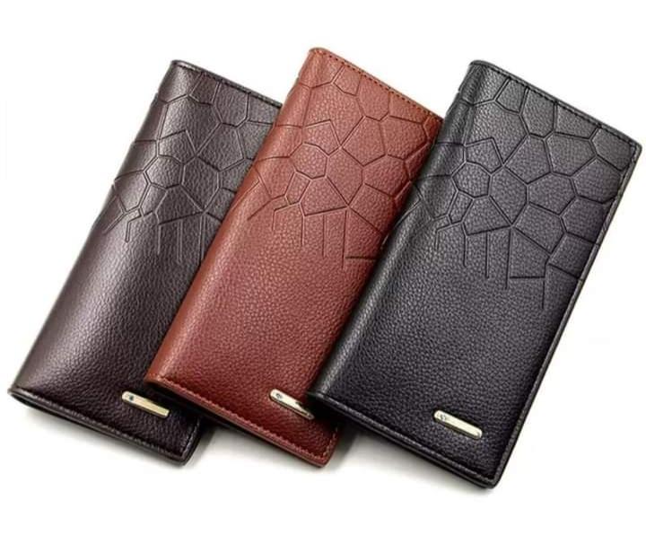 Leather Long Wallet For Men Slim Money Mobile Wallet Card Holder