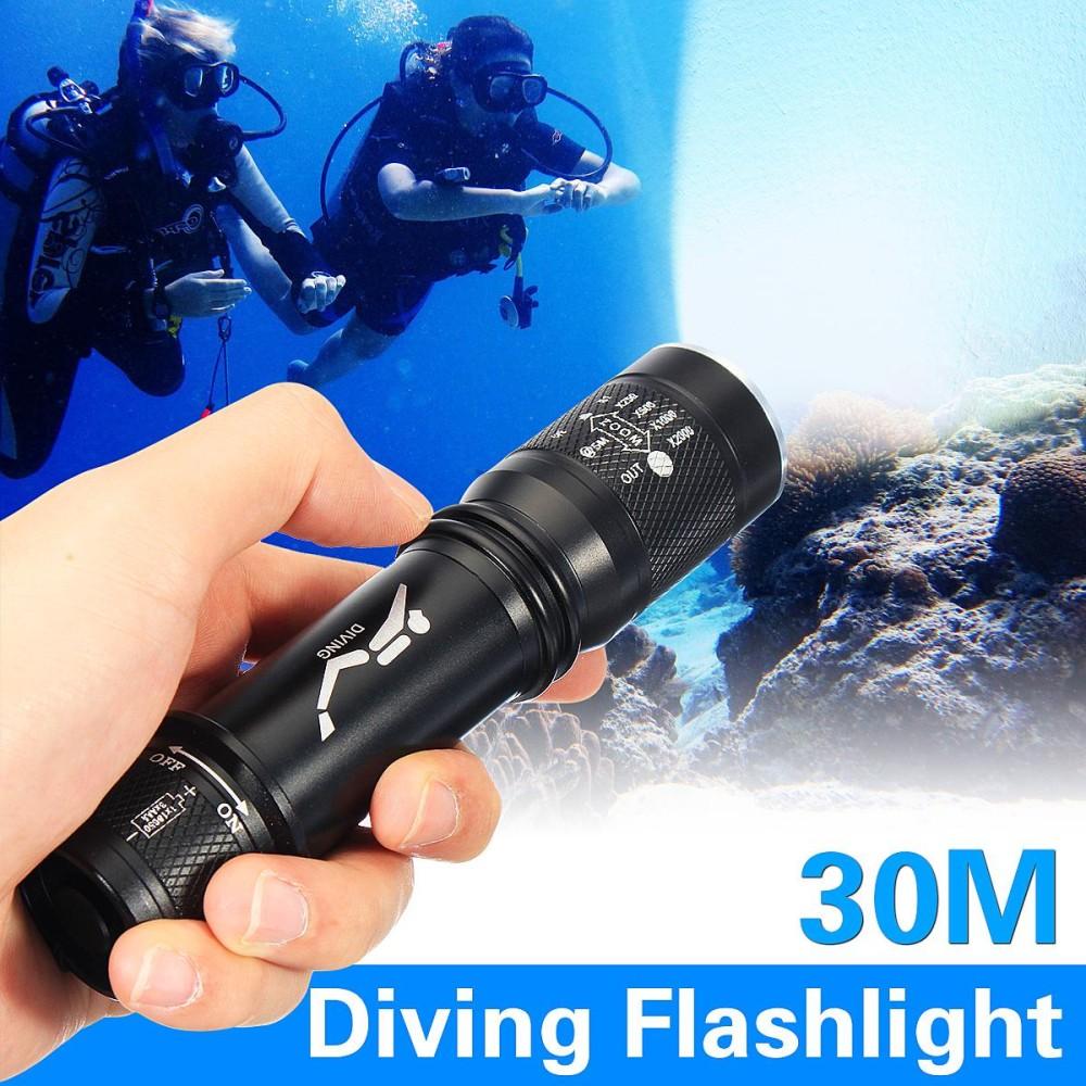 Elfeland Waterproof 10000Lm T6 LED Scuba Diving Flashlight Torch Underwater