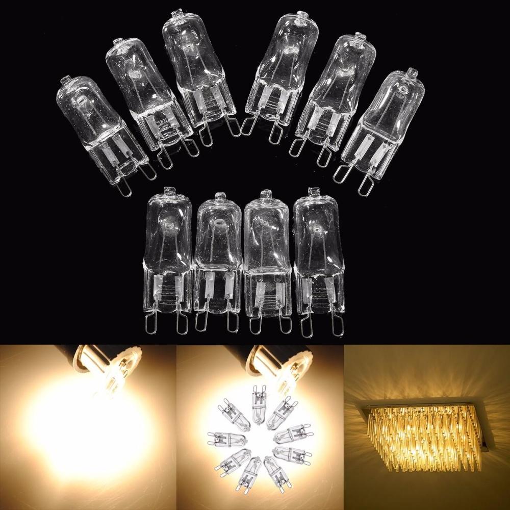 10pcs G 9 Pin Halogen 120 v volt25 35 40 50 60 Wwatt Light Bulb JCD G9