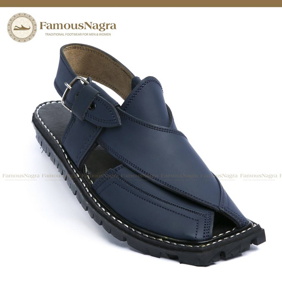 Peshawari Chappal / Sandal – Gents – Genuine Leather – Navy Blue – Soft Insole – Thick Tyre sole – Art 716