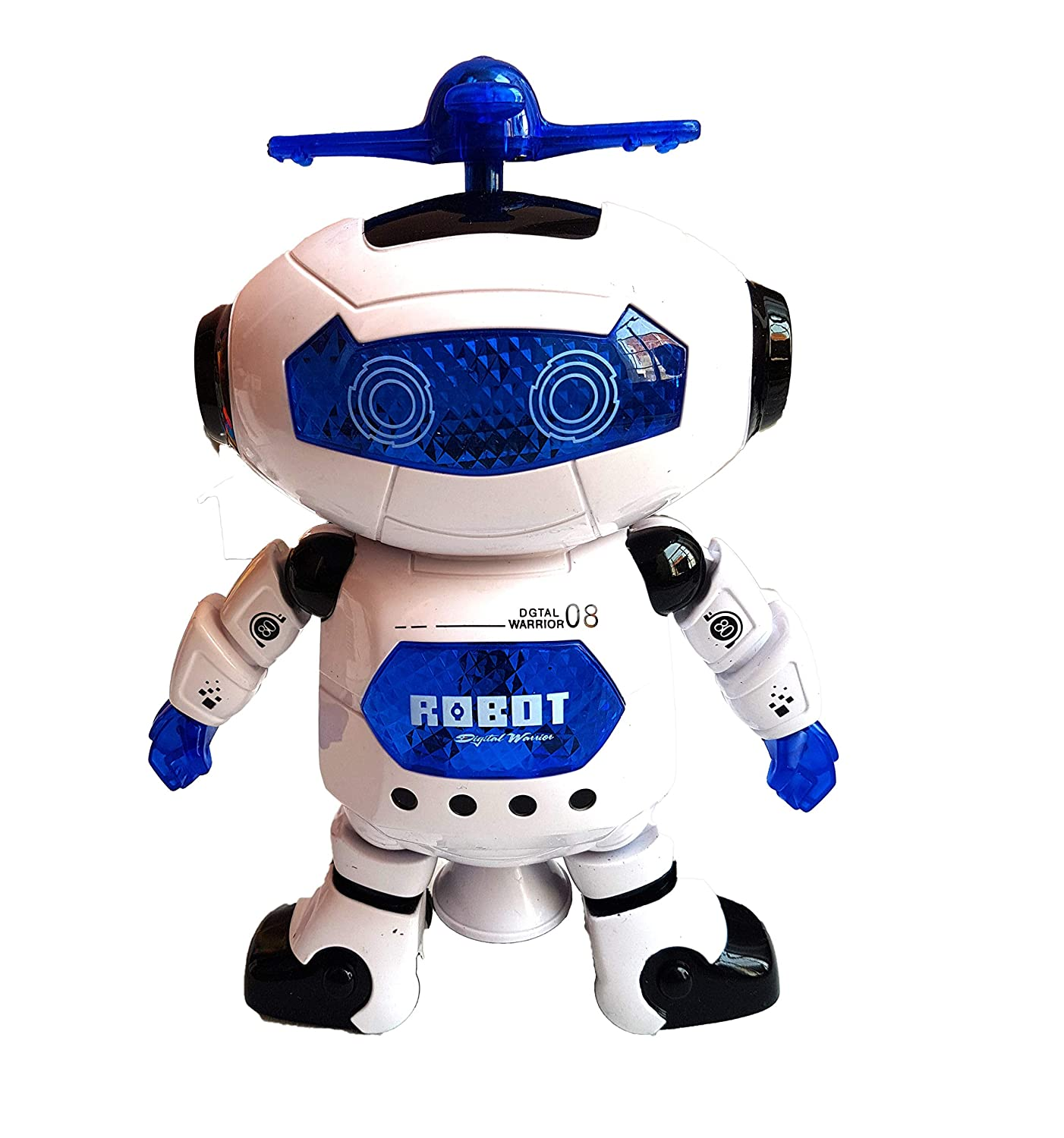 Electric Push Button Spin 360° Walking and Dancing Naughty Robot with 3D Lighting Effect and Music for Kids