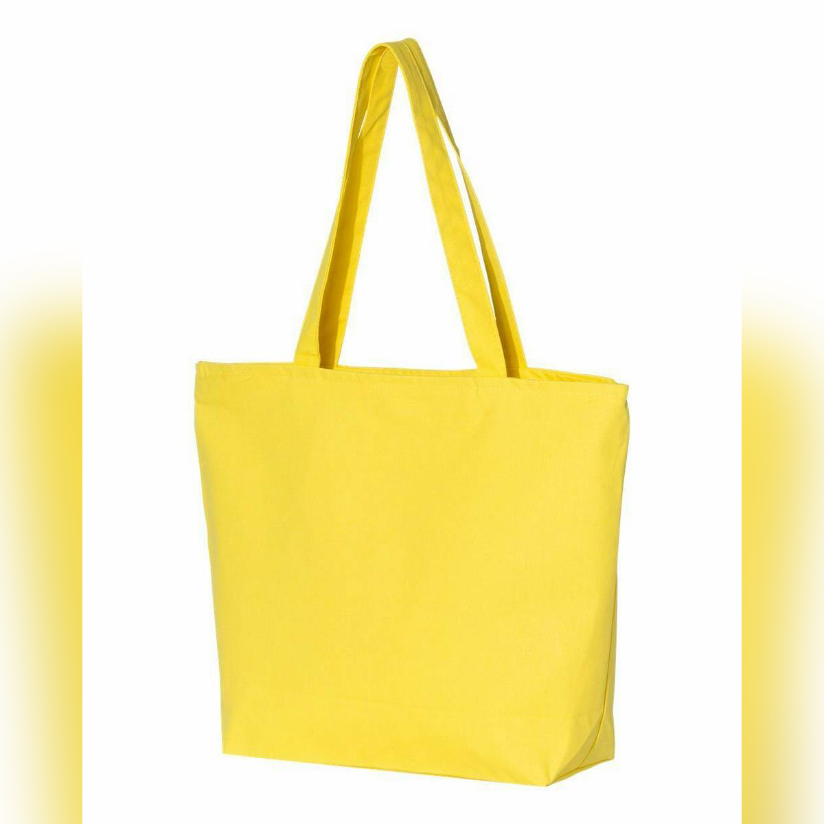 Women Durable Canvas Zipper Tote Bag Large Capacity Handbag Casual Shoulder Shopper - Yellow