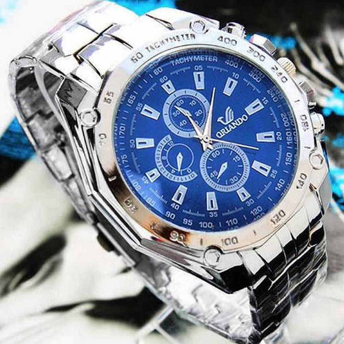 Men Silver Chain Royal Blue Premium Watch Latest Analog Watch