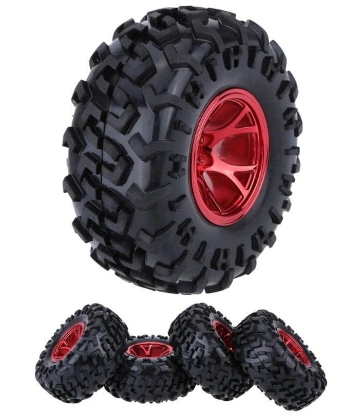 Monster Truck Tyres Red For Traxxas Hsp Tamiya Hpi Kyosho Rc