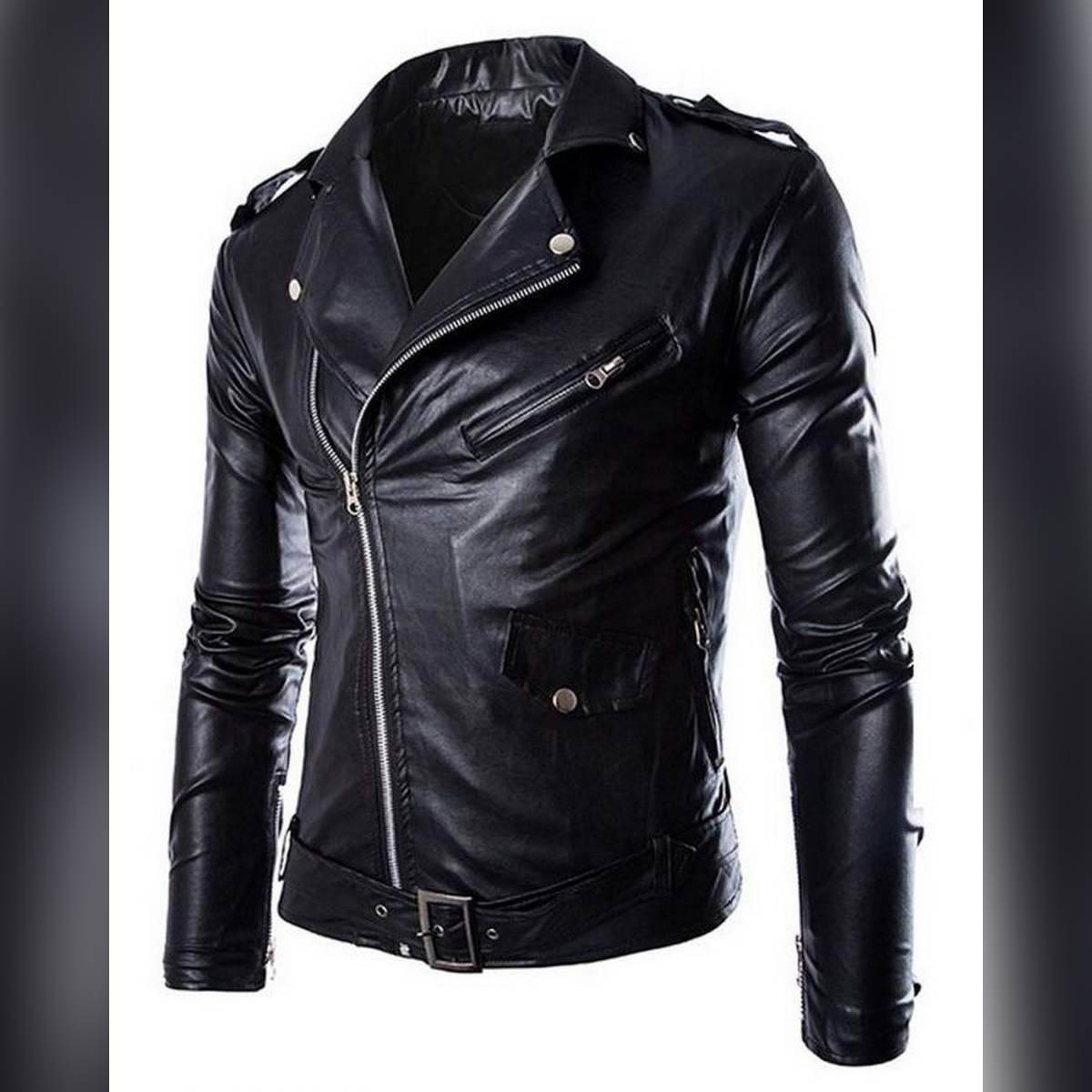Black Faux Leather Highstreet Jacket for Men