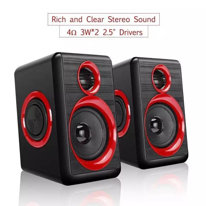 Computer Speaker with Heavy Bass,Subwoofer, Volume Control, 3.5mm Audio, USB Wired Powered Built-in Four Loudspeaker Diaphragm Multimedia Speaker for PC/Laptops/Desktop/BACER For Computer (Color - RED & Blue)