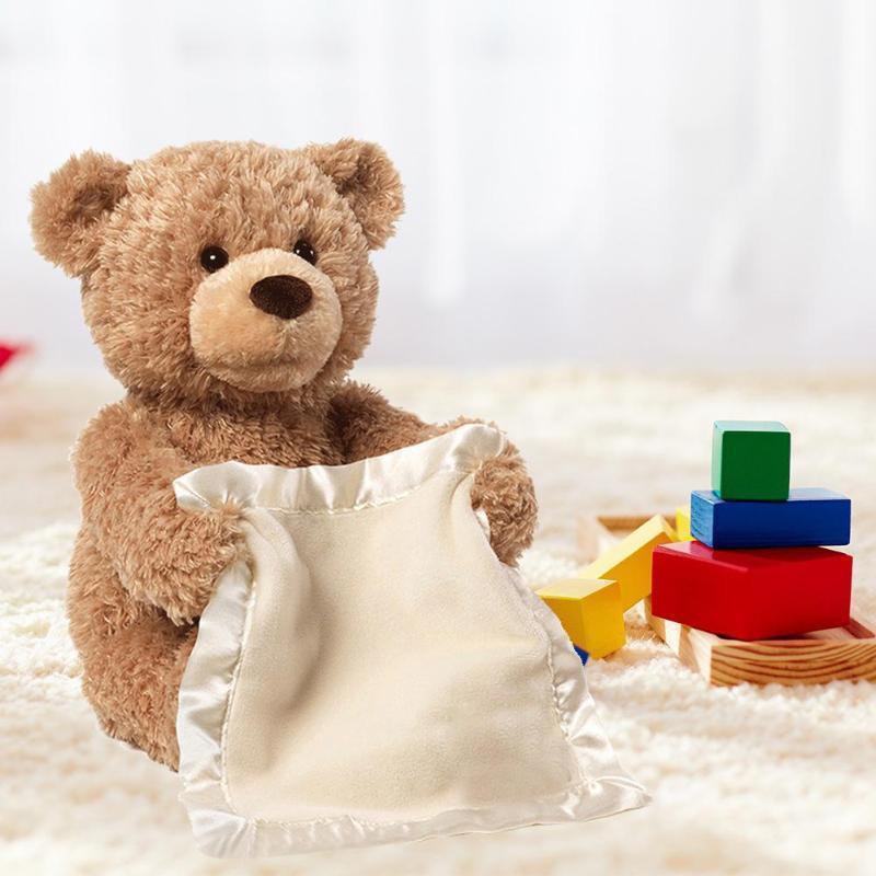 Peek a Boo Plush Doll Playing Hide and Seek Intelligent Cartoon Stuffed Sing Music Brown Teddy Bear Toy