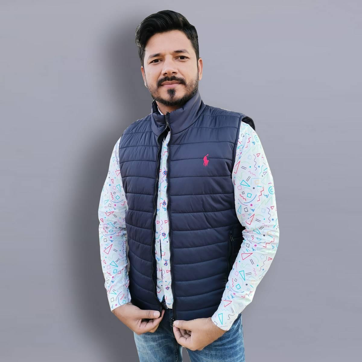 Men Blue Winter Warm Down Jacket Casual Sleeveless Jacket