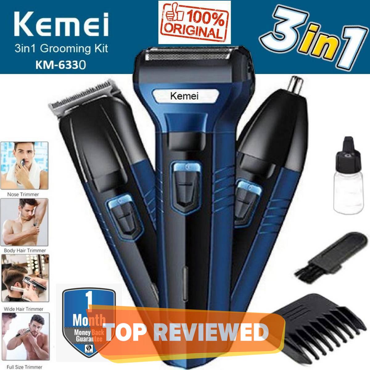 Kemei 3 In 1 km 6331 Rechargeable Hair Clipper Shaver beard Styling Hair Removal machine shaving machine for men -  km-6330/6558/6331 - black