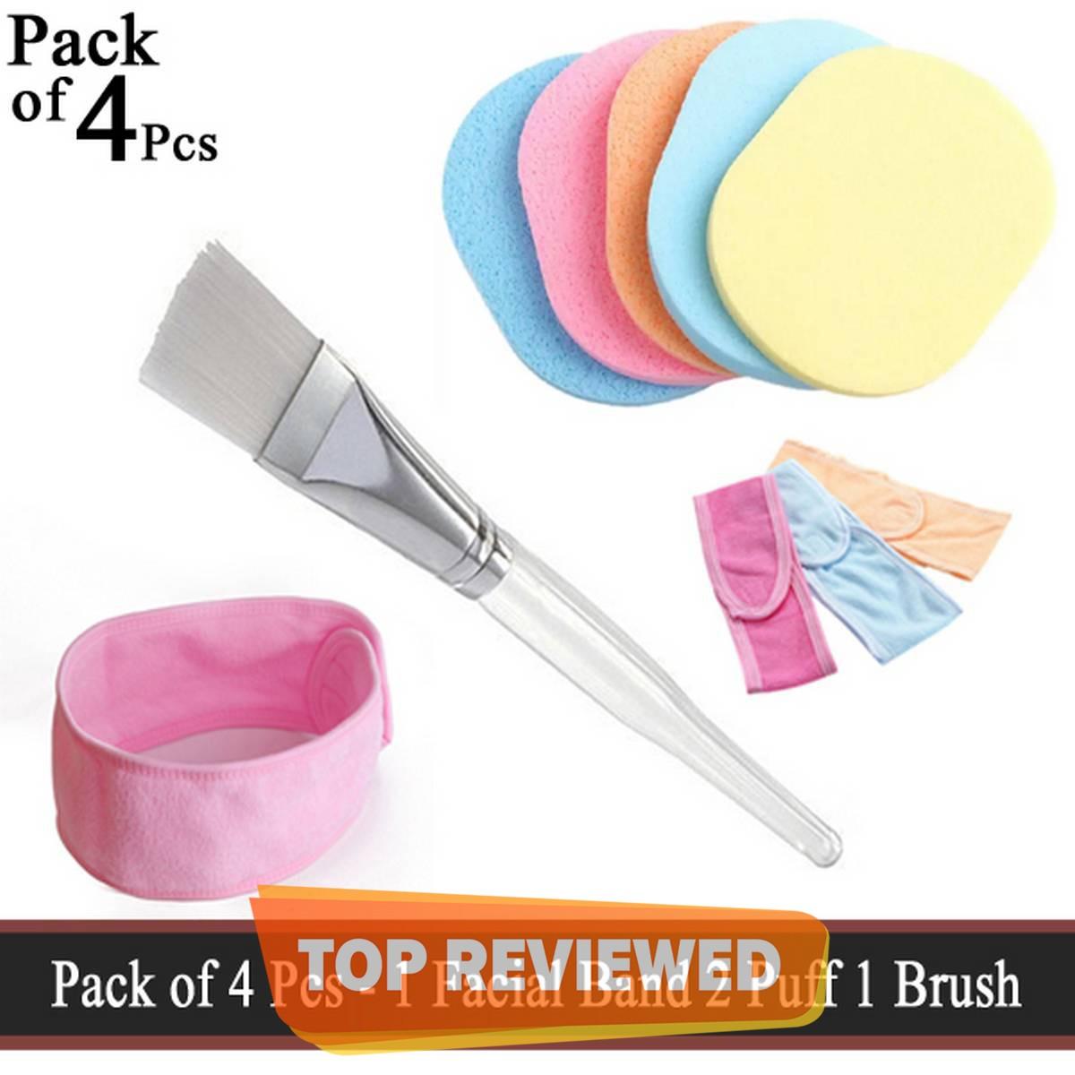Pack of 4 Pcs - 1 Facial Hair Band 2 Sponge Puff 1 Facial Mixing Brush - Facial Face Wash Cleansing Sponge Puff Pad Makeup Remover Puff