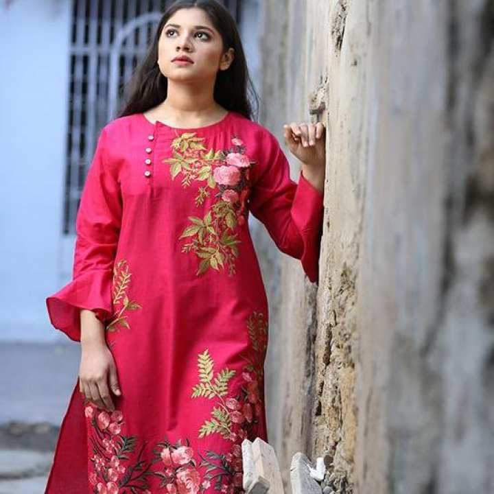 Narmeen Pink Embroidered Kurti National Style Floral Embroidery Lace Up Kurti Cotton Evening wear Casual Wear