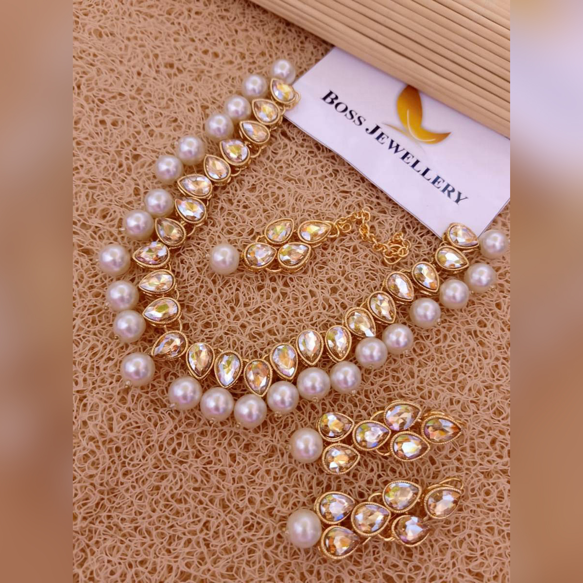 Women White Cubic Rhinestone Jewellery Set For Wedding Party Special Occasion Anniversary and Engagement
