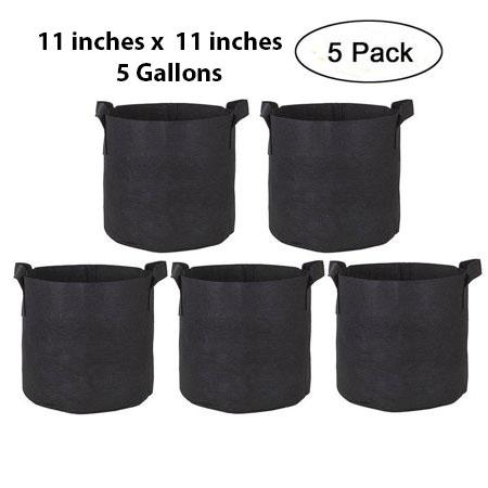 Pack of 5 Fabric Grow Bags - 5 Gallons- by Victoria Store