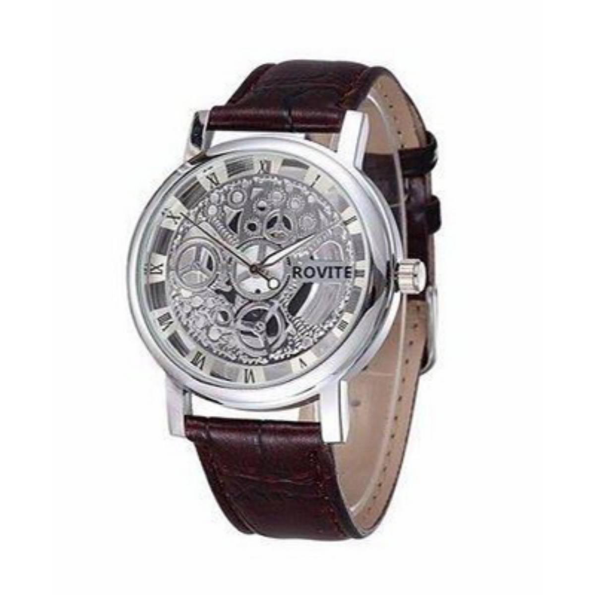 Rovite Silver Transparent Mechanical Watch