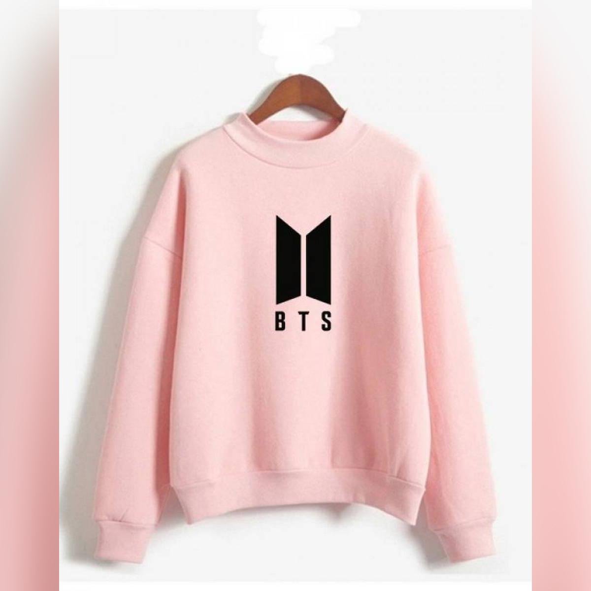 Pink Fleece BTS Sweatshirt For Women
