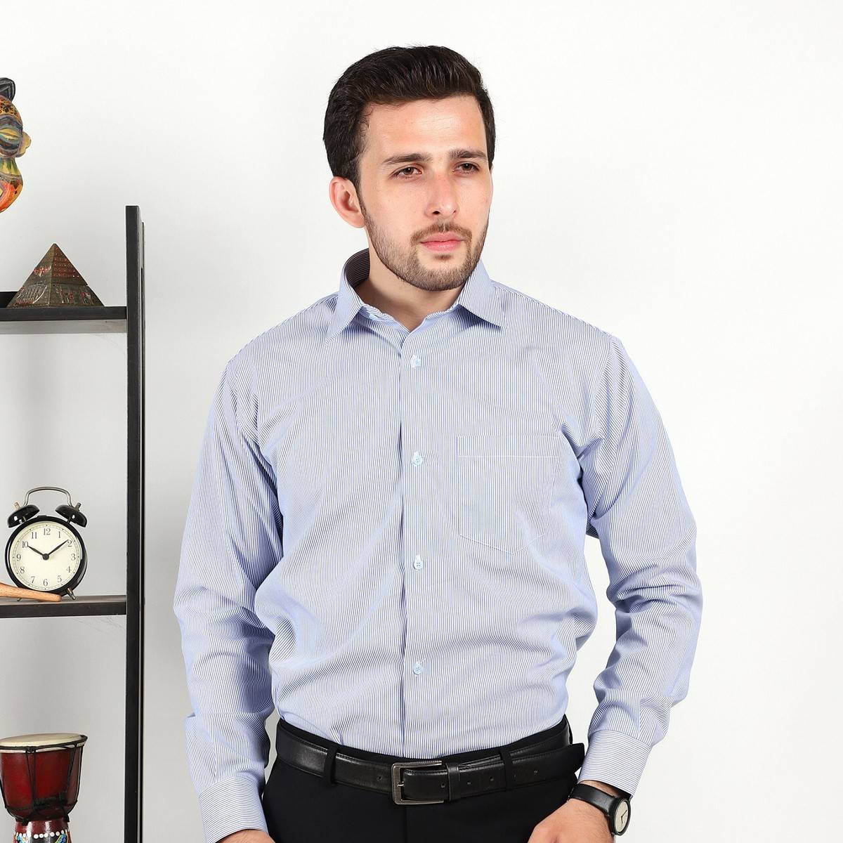 Blue And White Lining Shirt For Men RR-1045
