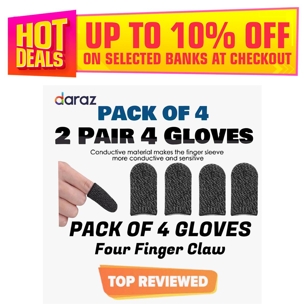 2 Pair / 4 Glove Pubg Thumb Gloves Finger Sleeve Trigger Triger